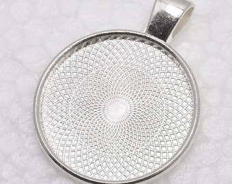 100pcs 1 inch Round Shiny Silver Plated Pendant Trays, Blank Pendant Bases, 25mm Bezel Pendant Settings for Glass or Stickers