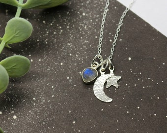 STARGAZER CHARM NECKLACE   Constellation Necklace - Astronomy Gift - Labradorite Jewellery - Hammered Jewellery - Moon Necklace