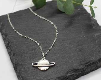 SATURN NECKLACE   Planet Necklace - Planet Jewellery - Solar System - Space Jewellery - Astronomy Gift - Sterling Silver