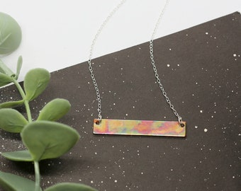 RAINBOW COPPER NECKLACE   Hammered Copper Necklace - Copper Jewellery - Rainbow Jewellery - Sterling Silver - 925 Sterling