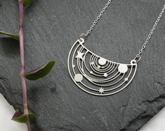 SOLAR SYSTEM NECKLACE   Astronomy Jewellery - Space Jewellery - Universe - Stainless Steel - Sterling Silver
