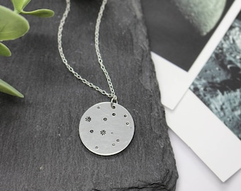 CONSTELLATION STAMPED NECKLACE   Space Jewellery - Stamped Jewellery - Star Necklace - Sterling Silver - 925 Sterling - Constellation Gift