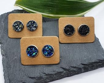 DRUZY STUD EARRINGS   Druzy Jewellery - Blue Earrings - Black Earrings - Minimal Stud Earrings - Stainless Steel