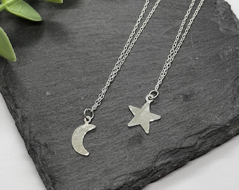 CONSTELLATION NECKLACE   Star Necklace - Star Jewellery - Moon Necklace - Hammered Jewellery - Minimal Jewellery - Sterling Silver