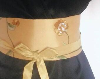 OBI belt silk tie belt, women, reversible belt, underbust belt, belt fabric, silk, yellow silk