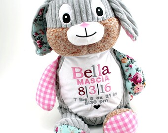 Personalized Stuffed Animal | Plush Fluffy Animal with Birth Information | Perfect Baby Gift Keepsake | Lamb Baby Shower | Birth Stats
