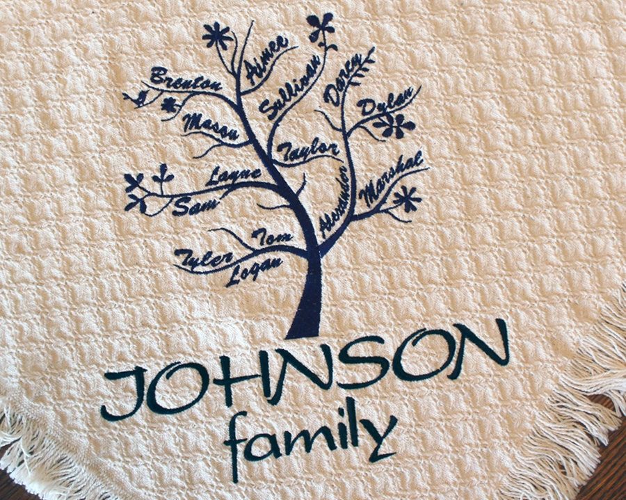 Personalized Family Tree Blanket Custom Embroidered Family Etsy Simple Personalized Blanket Throws