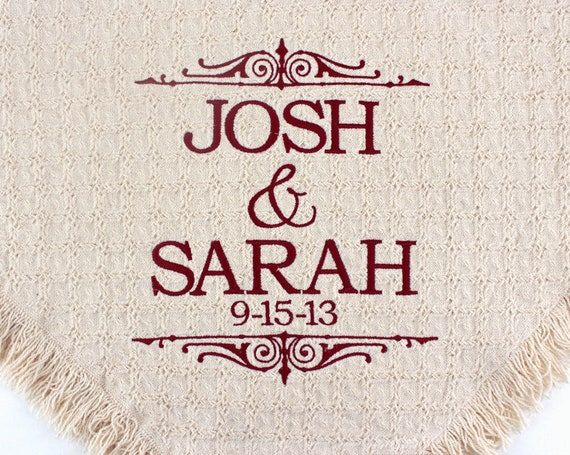 Personalized Wedding Throws And Blankets Custom Embroidered Etsy Magnificent Personalized Wedding Throw Blanket