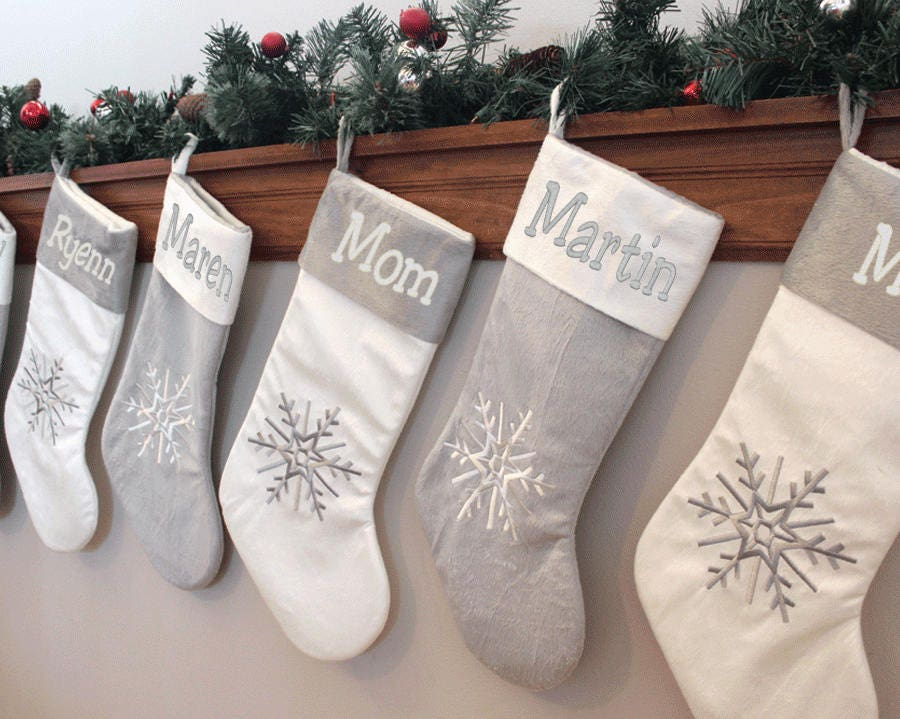 Silver White Christmas Stockings Personalized Family Stockings Coordinating Christmas Stocking Family Christmas Stockings Snowflake