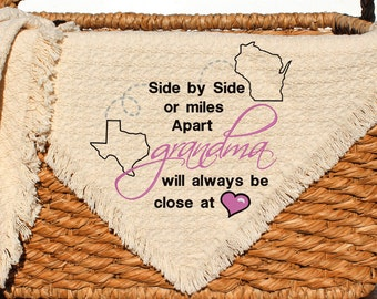 Long Distance Grandma Gift | State Personalized Grandma Present | Side by Side Miles Apart Close at heart | Live in Different State Grandma