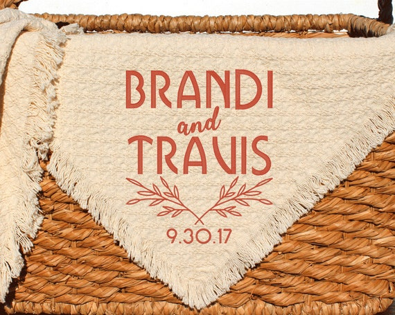 Personalized Wedding Throws And Blankets Custom Embroidered Etsy Enchanting Personalized Wedding Throw Blanket