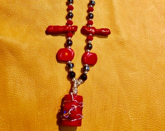 Red Coral Wire Wrapped Necklace