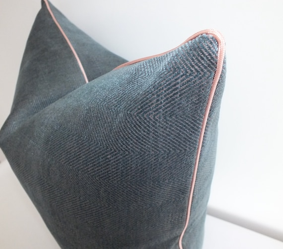 "FILLED VELVET PIPED TEAL 17/"" 43CM CUSHION"