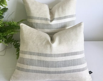 Grey stripes linen cushion or cover/Cottage style cushion/Linen cushion/Cushion with stripes/Grey stripes cushion/Rustic cushion