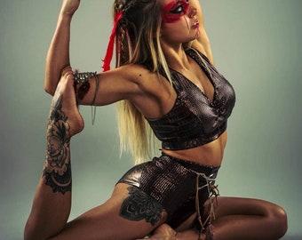Warrior inspired costume - pole dance crop top sports bra unique racer back fitness yoga gym gymnastics dancewear matt sequins animal print
