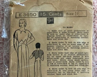 bow accents Size 10 Vintage 1930s junior misses/' frock with circular ruffled collar Excella pattern 3214 irregular circular skirt seams