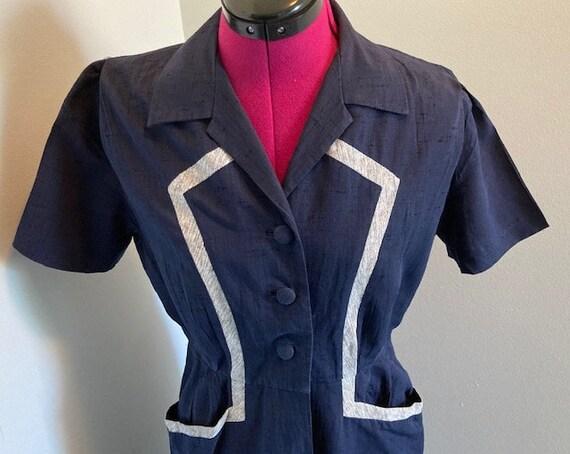 """1940s Blue Linen Sports Dress - 40"""" bust"""