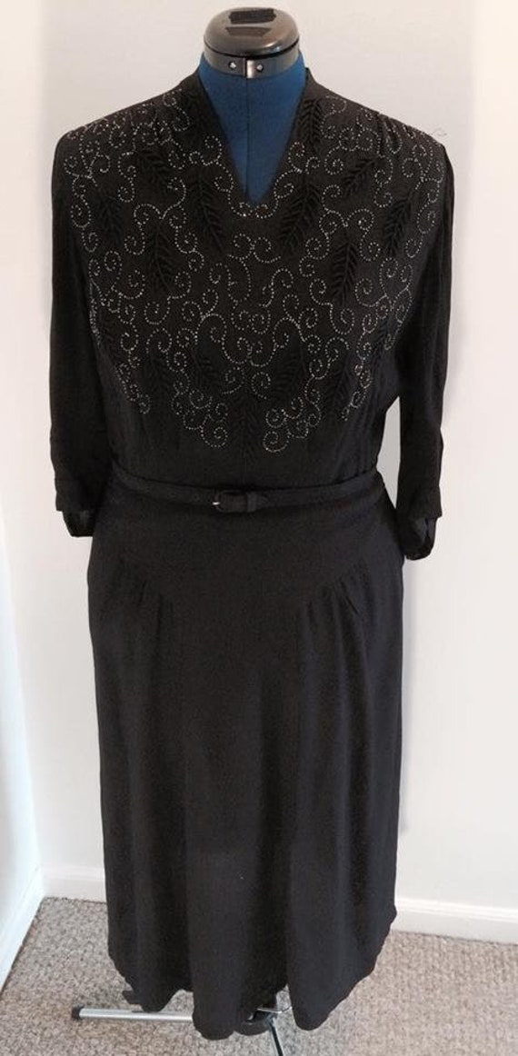 1940s Black Crepe Beaded Dress