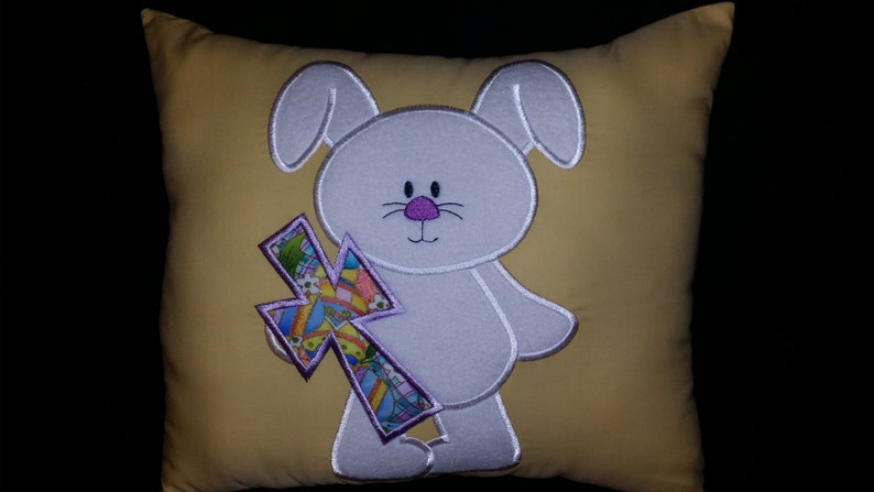 Gift Easter Pillow Spring Decoration Easter Bunny Pillow Cross and Bunny Pillow Bunny with a Cross Pillow White Bunny Appliqued Pillow