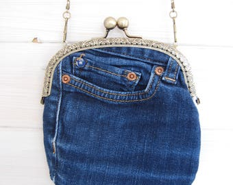 Denim Clutch Bag with chain