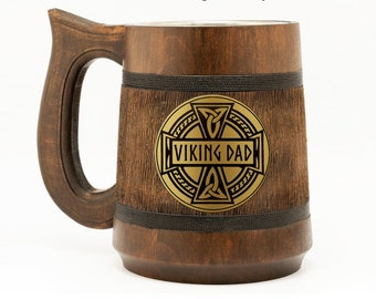 Viking Dad Mug Gift For Father Dad Birthday Gift Mugs For Dad Fathers Day Gifts Engraved Dad Gift From Son Viking Present Fathers Day Wood