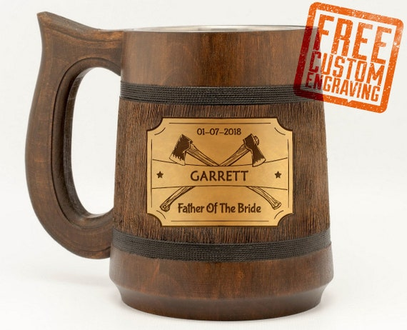 Wooden Mug Father Of The Bride Personalized Gift Wedding Party Etsy