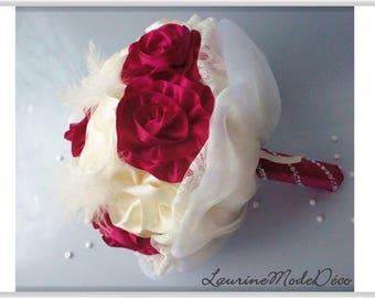 Everlasting flowers ivory and raspberry