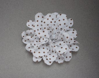White polka dot fabric flower hair clip