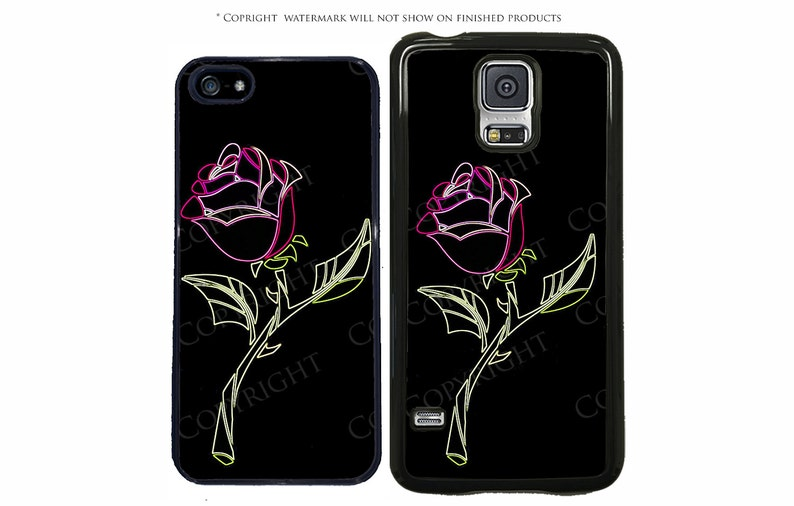 new product 435a4 56ed8 Disney Beauty and The Beast Neon Glass Rose Phone Case For Samsung Galaxy  S10, S10 Plus, S10E, 3A, S6, S5, S4 LG G7 Google Pixel XL, Note 8
