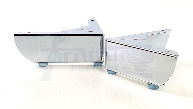 Metal Furniture Feet Chrome Finish Replacement Legs 50mm High For Sofa,  Chairs, Stools Beds Cabinets Self Fix Set Of 4