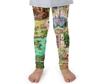 Disneyland Colorful Map Disney World Inspired - Kids Leggings in Capri or Full Length 000753