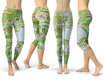 Animal Kingdom Map Walt Disney World Theme Park   Capri Or Full Length,  Sports | Yoga | Fleece Leggings In XS 3XL 000758