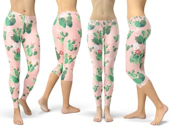 d5f2c30b9 Cactus In Bloom Retro - Leggings in Capri or Full Length