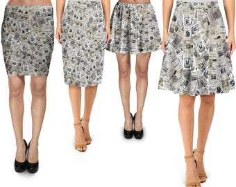 The Daily Prophet Harry Potter Inspired - Skirt in Skater Flare, Bodycon Fitted, Flared A-Line, or Midi Pencil style XS-3XL 000940