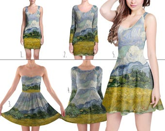 Vincent Van Gogh Fine Art Painting - Dress in XS-3XL - Flared, Bodycon, or Skater Style 000644