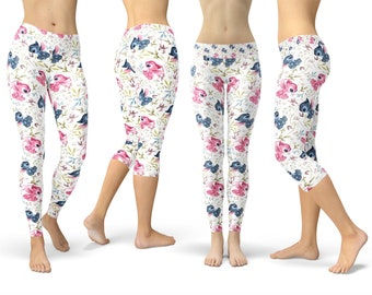 Disney Inspired Leggings in Capri or Full Length Yoga 5XL Winter Styles in Sizes XS Sports Stitch Loves Angel