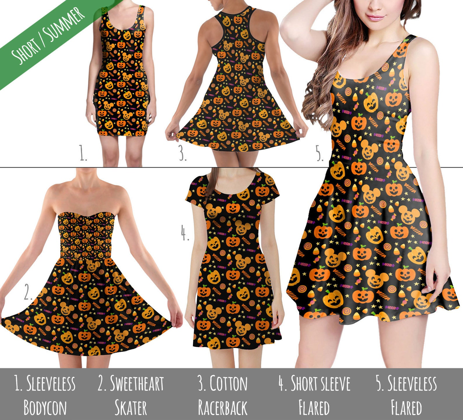 Womens Sleeveless Jack O Lantern Print Dresses