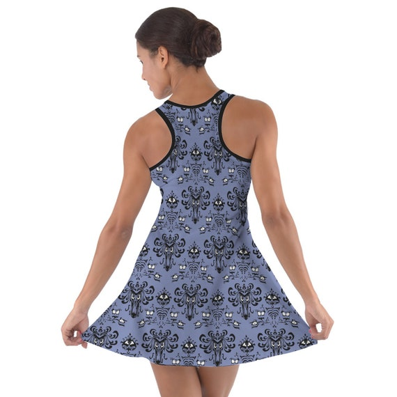 Haunted Mansion Wallpaper Sleeveless Dress Flared Short