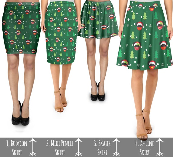 Christmas Mickey /& Minnie Sweater Pattern Disney Inspired Skater Skirt XS-3XL St