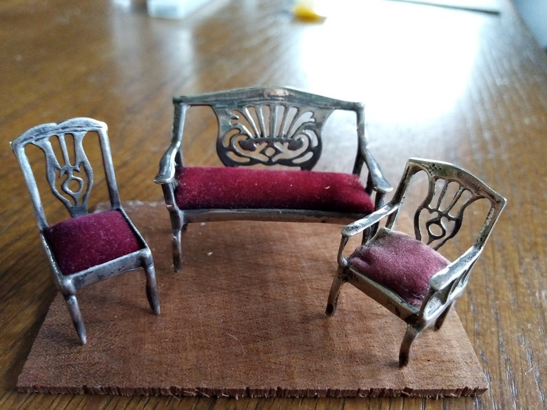 Miniatures silver furniture living room