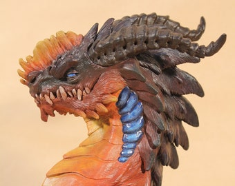 Painted Dragon sculpture bust