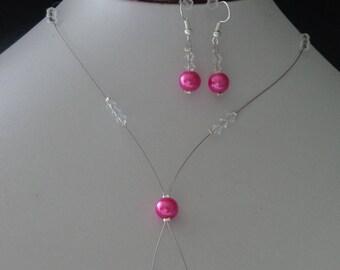 set necklace bracelet earrings Fuchsia Crystal 925 sterling silver beads