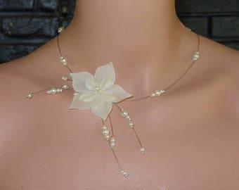 Ivory wedding Silk Flower necklace