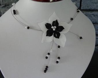 unique piece bridal wedding black and white silk flower bridal necklace