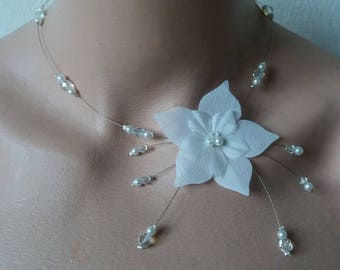 Hypoallergenic available wire white silk flower necklace on wedding