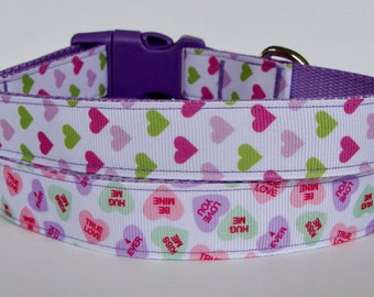 Valentine's Day Dog Collar Purple - Lime/Pink/Purple Hearts, Conversation Candy Hearts