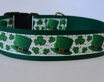 "Large Dog St Patrick Day Lucky Leprechaun Hat Dog Collar 1.5"" wide - READY TO SHIP!"