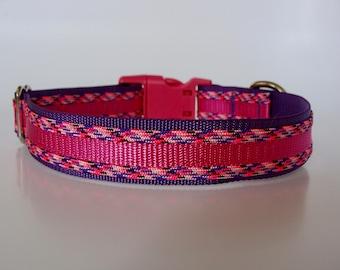Glamorous Paracord Dog Collar - Raspberry and Purple