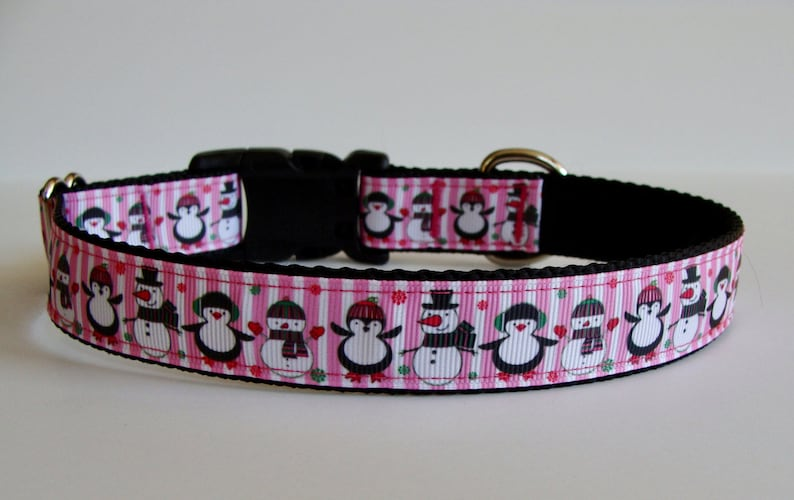 READY TO SHIP Pink Striped Snowman /& Penguin Christmas Dog Collar