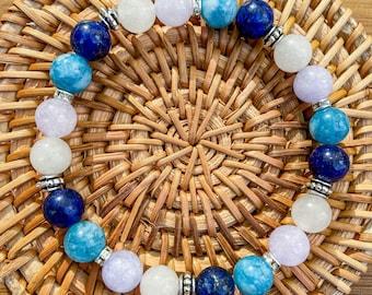 Bracelet natural stones blue woman, natural stones Lapis Lazuli Moonstone Angelite